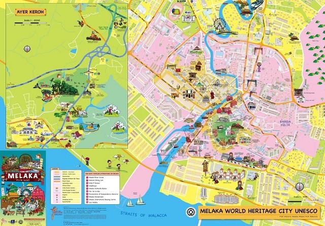 Malacca On World Map.Melaka Town Map English